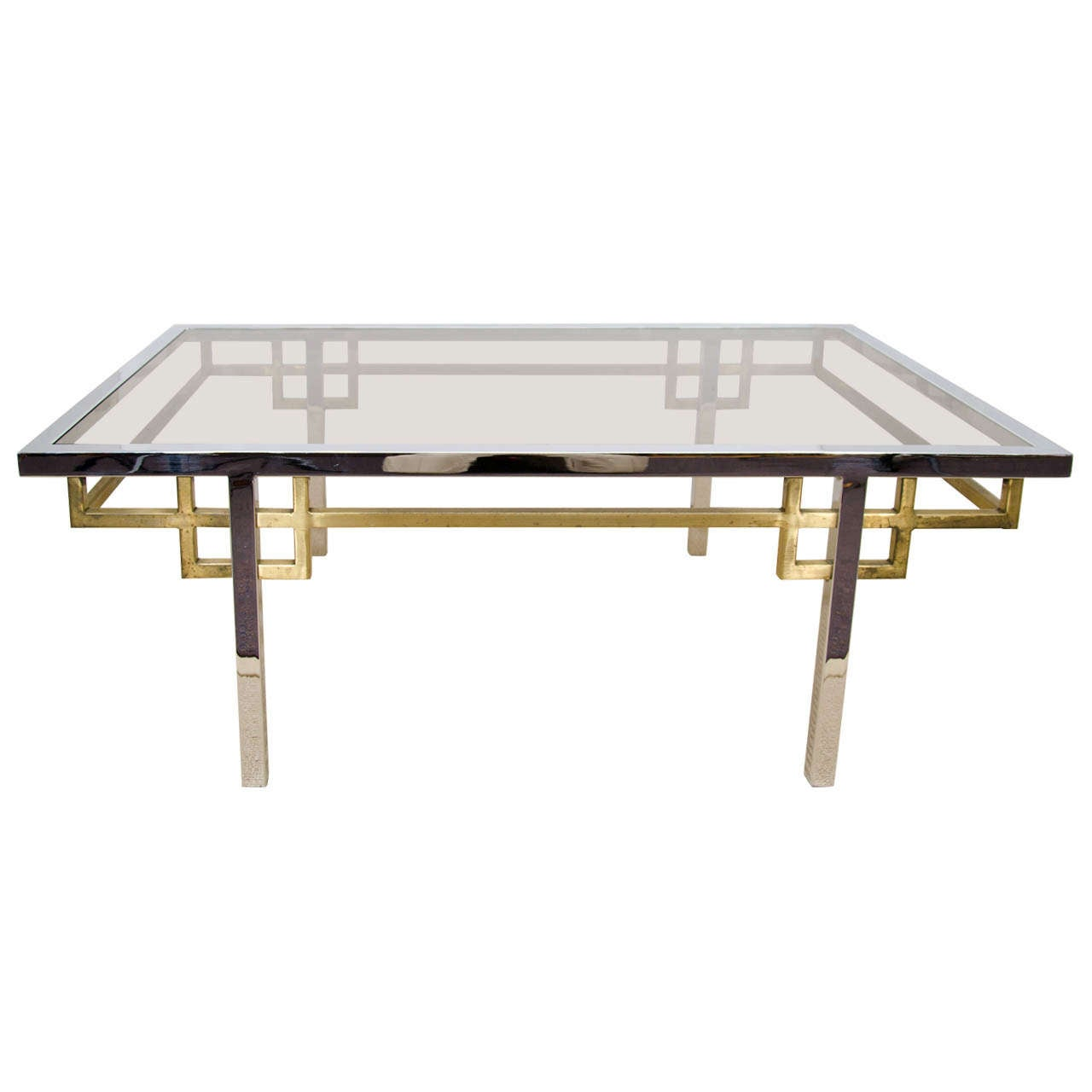 Brass Display Coffee Table: A Mid Century Brass, Chrome, And Glass Coffee Table For