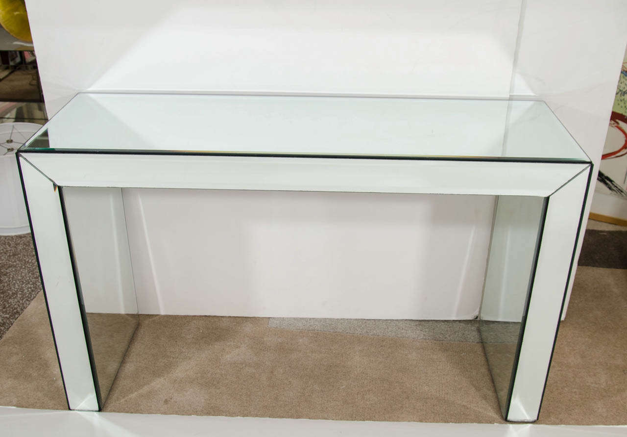 Mid Century Mirrored Glass Console Table At 1stdibs