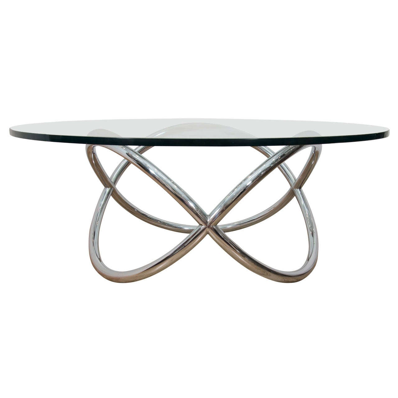 A Mid Century Chrome And Glass Cocktail Or Coffee Table At 1stdibs