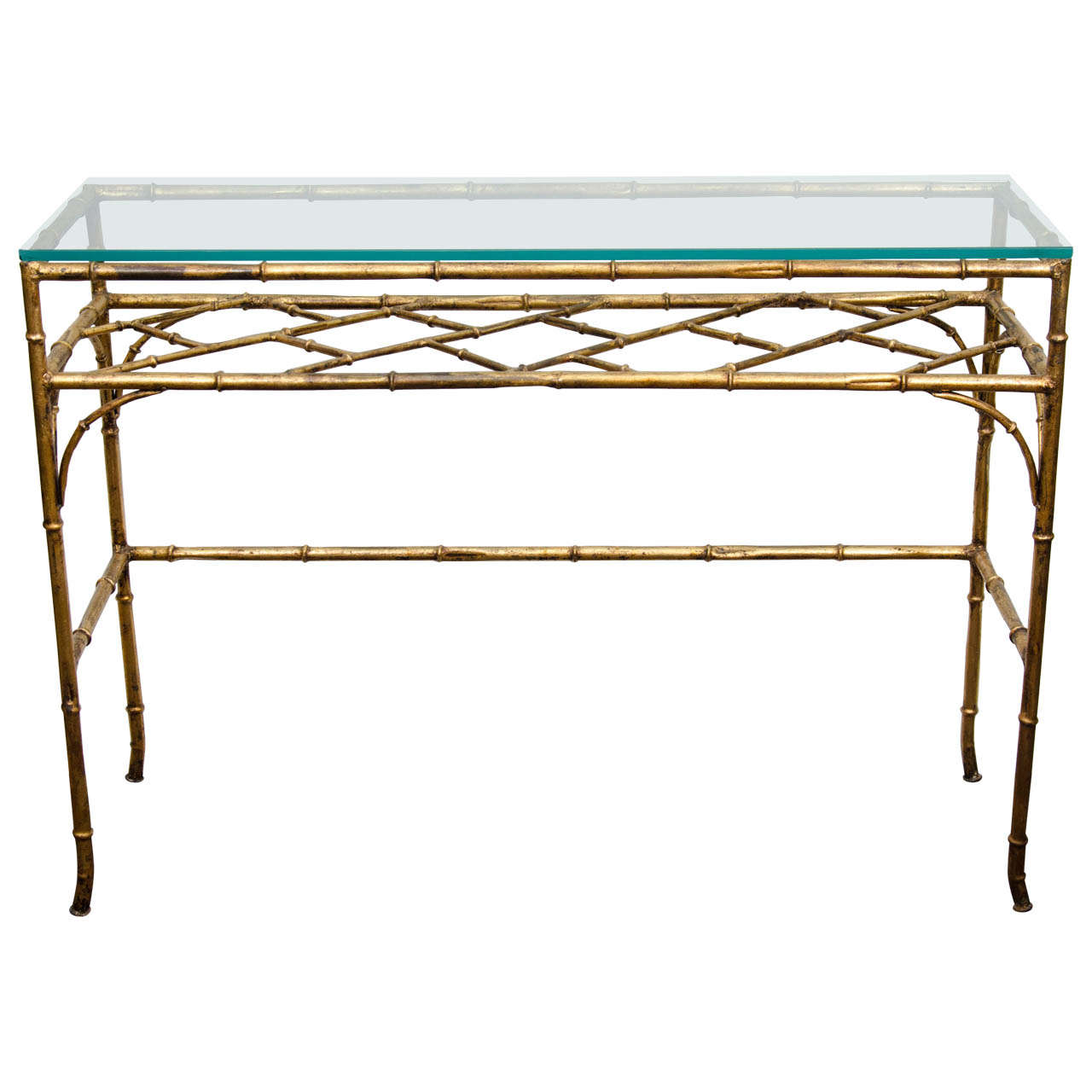 A Mid Century Gl And Faux Bamboo Console Table For