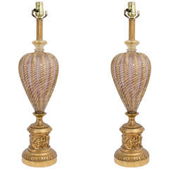 A Midcentury Pair of Barovier and Toso Murano Table Lamps
