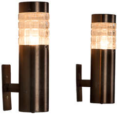 Set of Four Tubular Sconces with Structured Glass