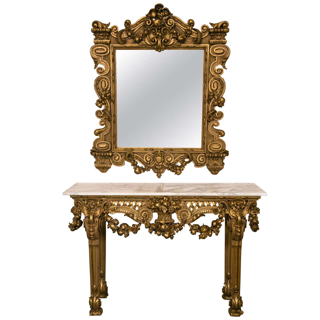 Marble Top Console Table with Matching Mirror by Maison Jansen