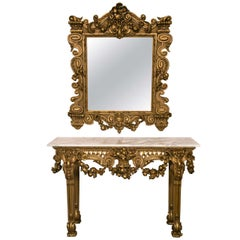 Marble Top Console Table with Matching Mirror by Maison Jansen Finely Carved