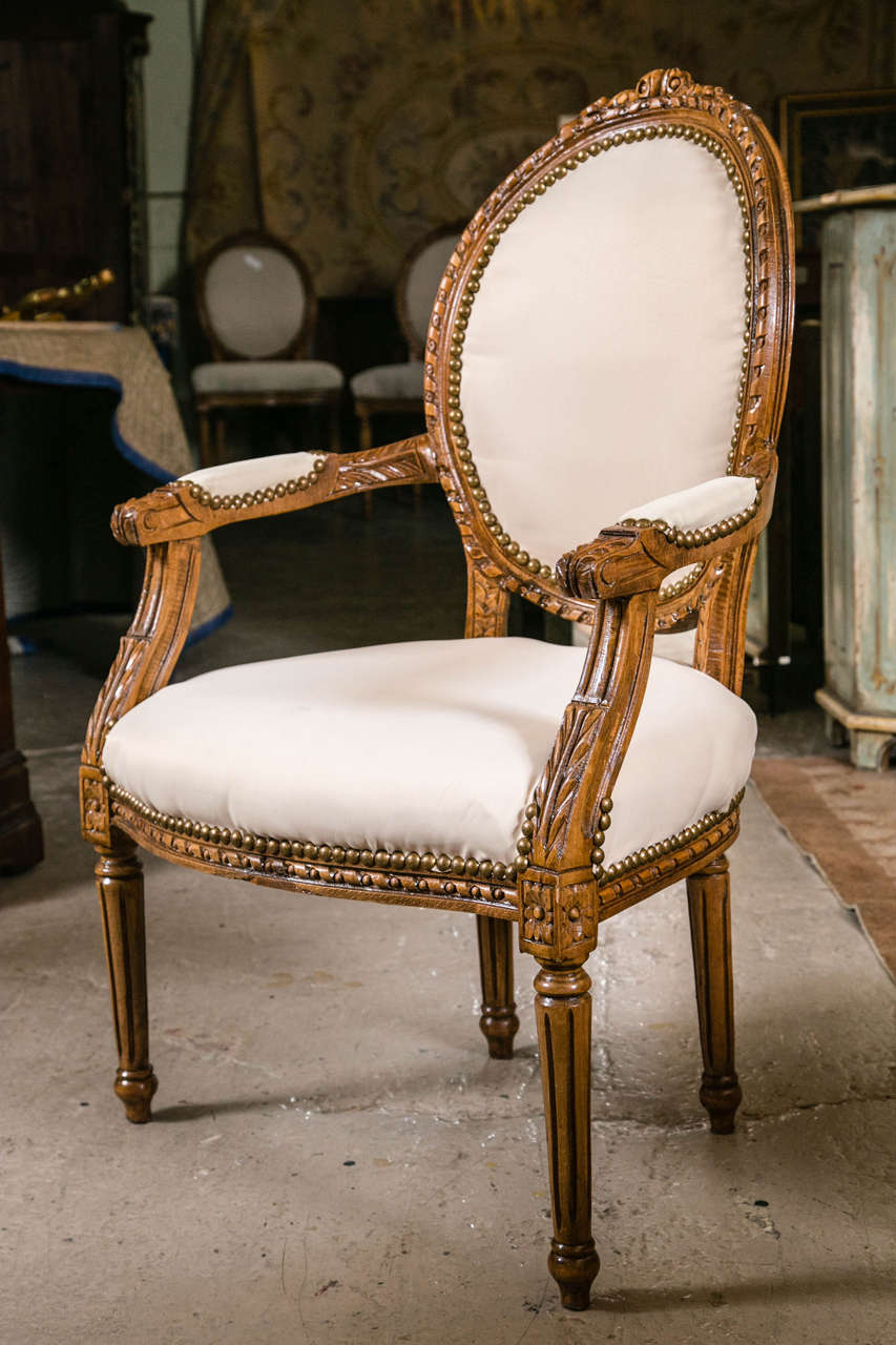 set of ten louis xvi style dining chairs in the manner of