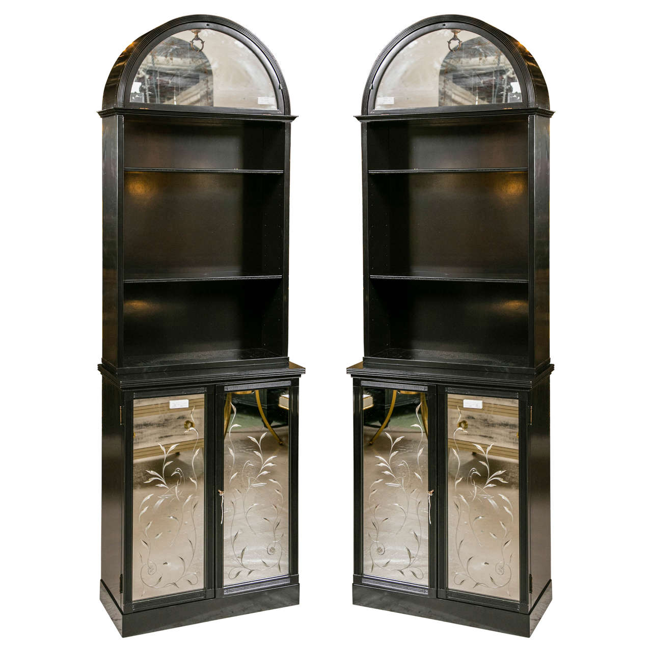 Pair of Etched Detailed Mirror Ebonized Dome Bookcase Etagere Cabinets