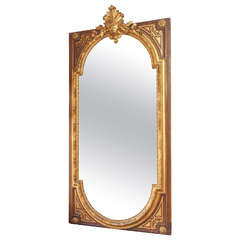 Grandiose French Napoleon III Painted and Gilded Mirror
