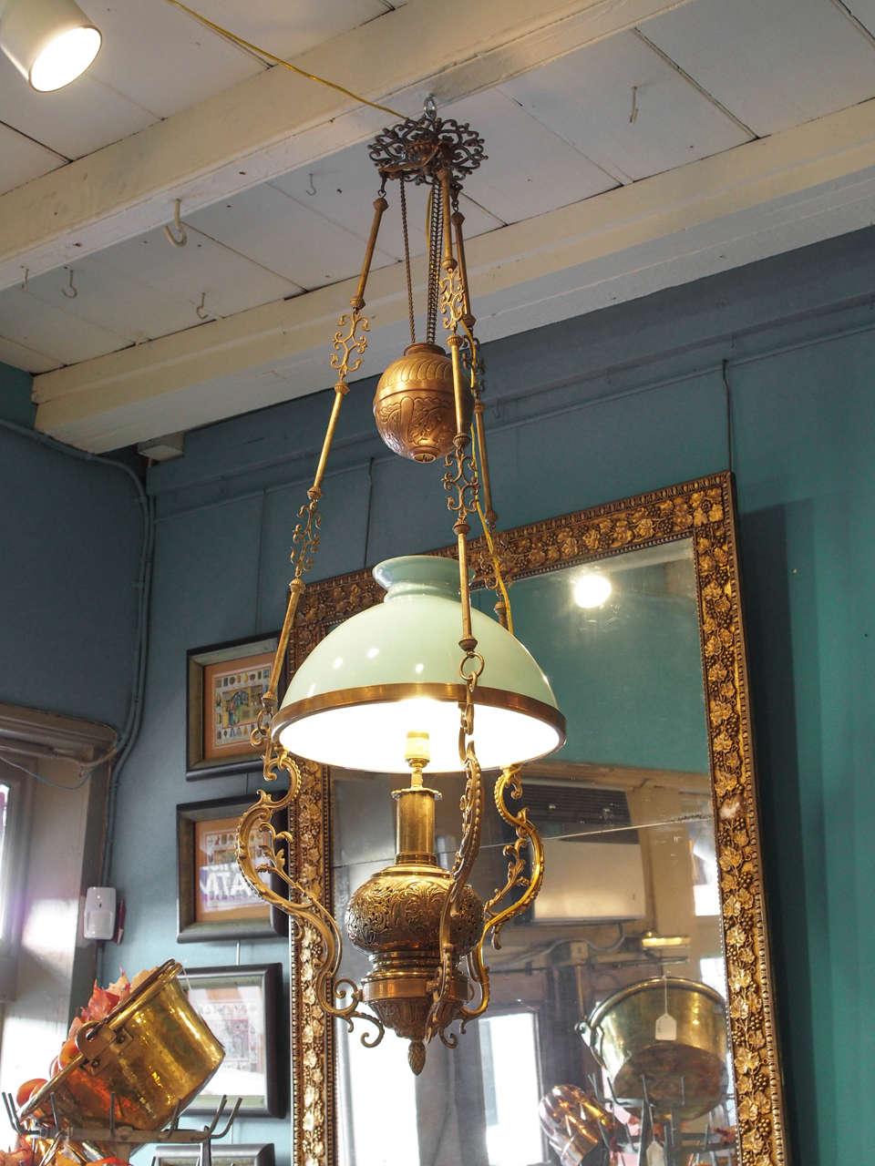 19th Century French Brass Kerosene Chandelier with Opaline Shade ...