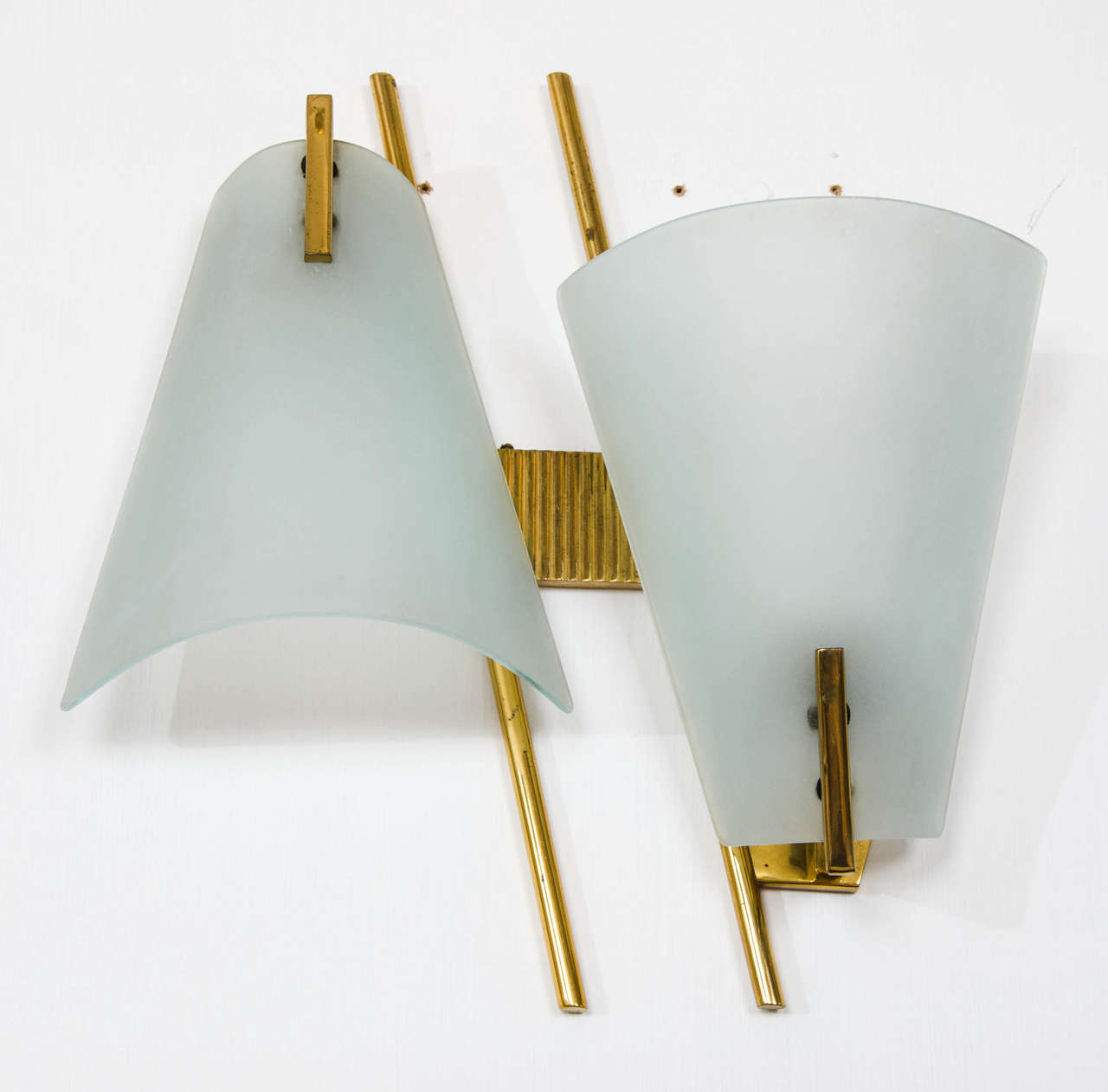 Curved Glass Wall Lights at 1stdibs