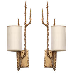 Pair of 1960s Brutalist Bronze Wall Sconces