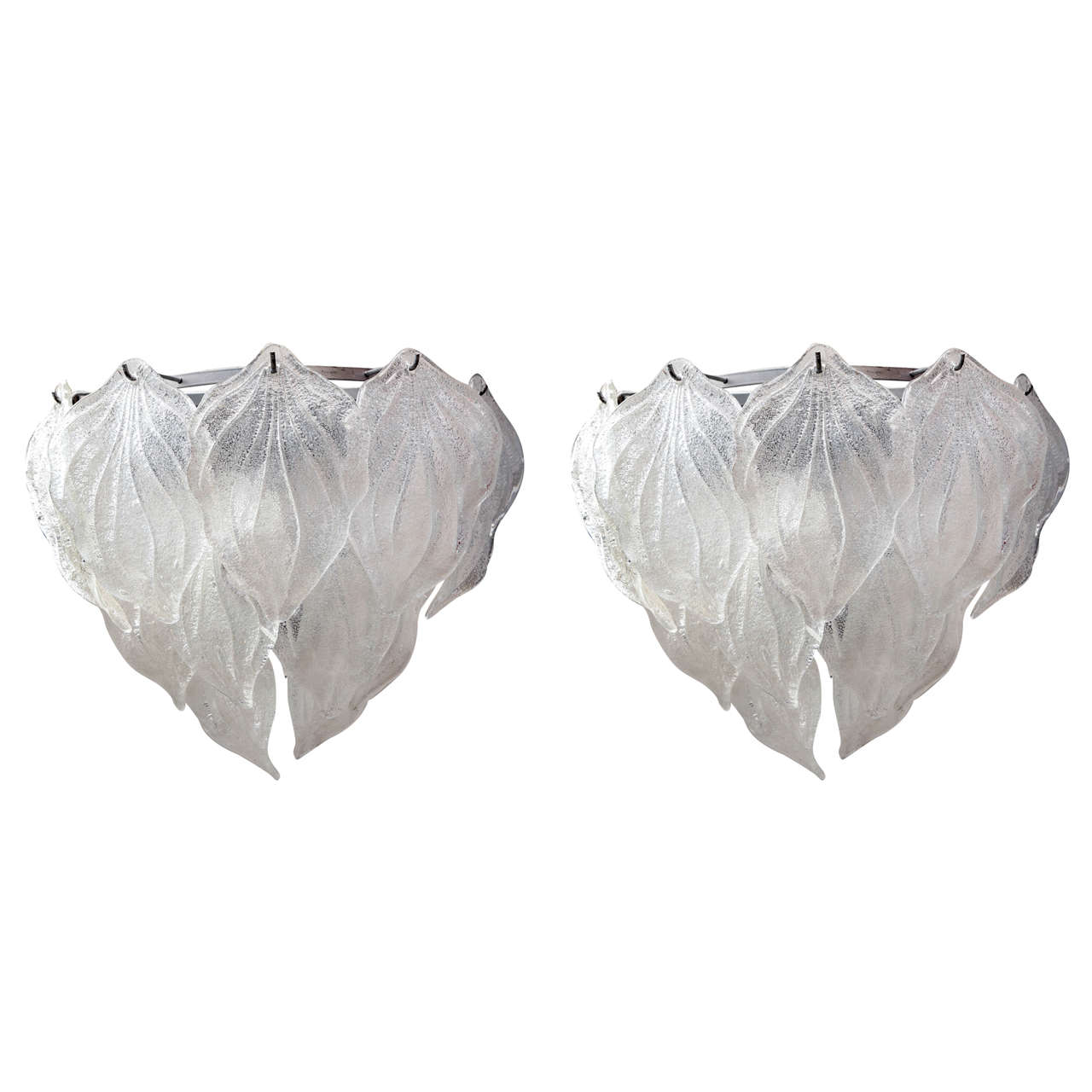 Pair of 1960s Italian Art Glass Leaf Sconces For Sale