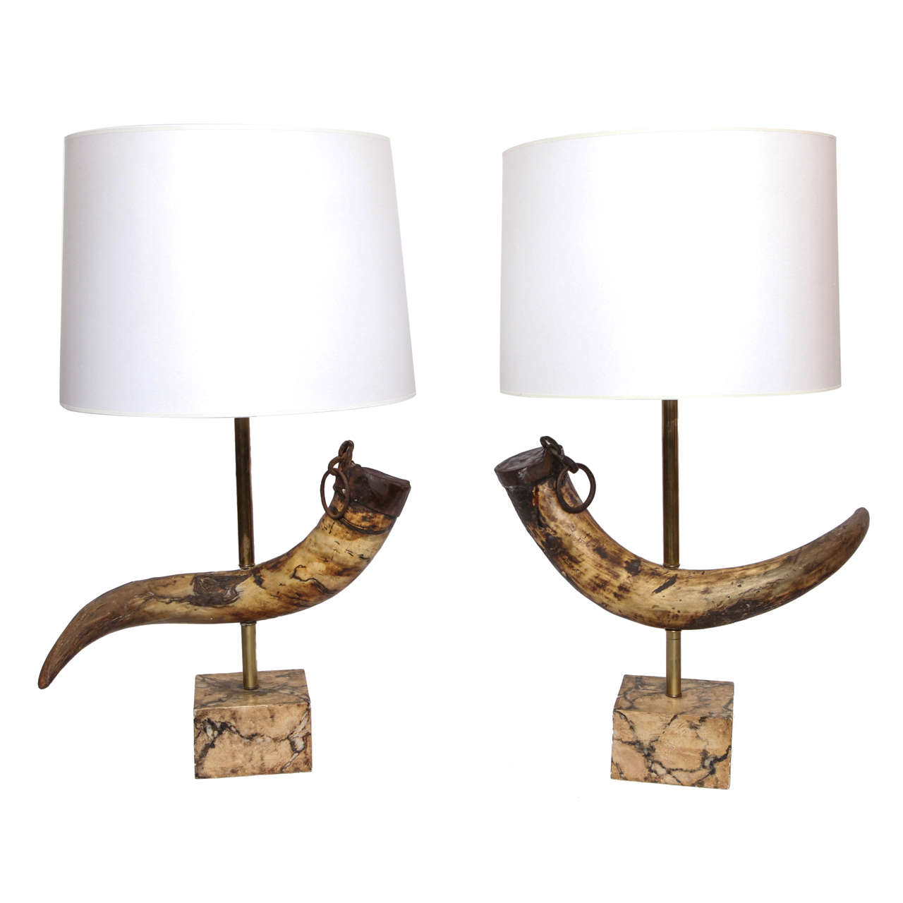 Pair Of 1920s Prehistoric Mounted Horn Table Lamps 1