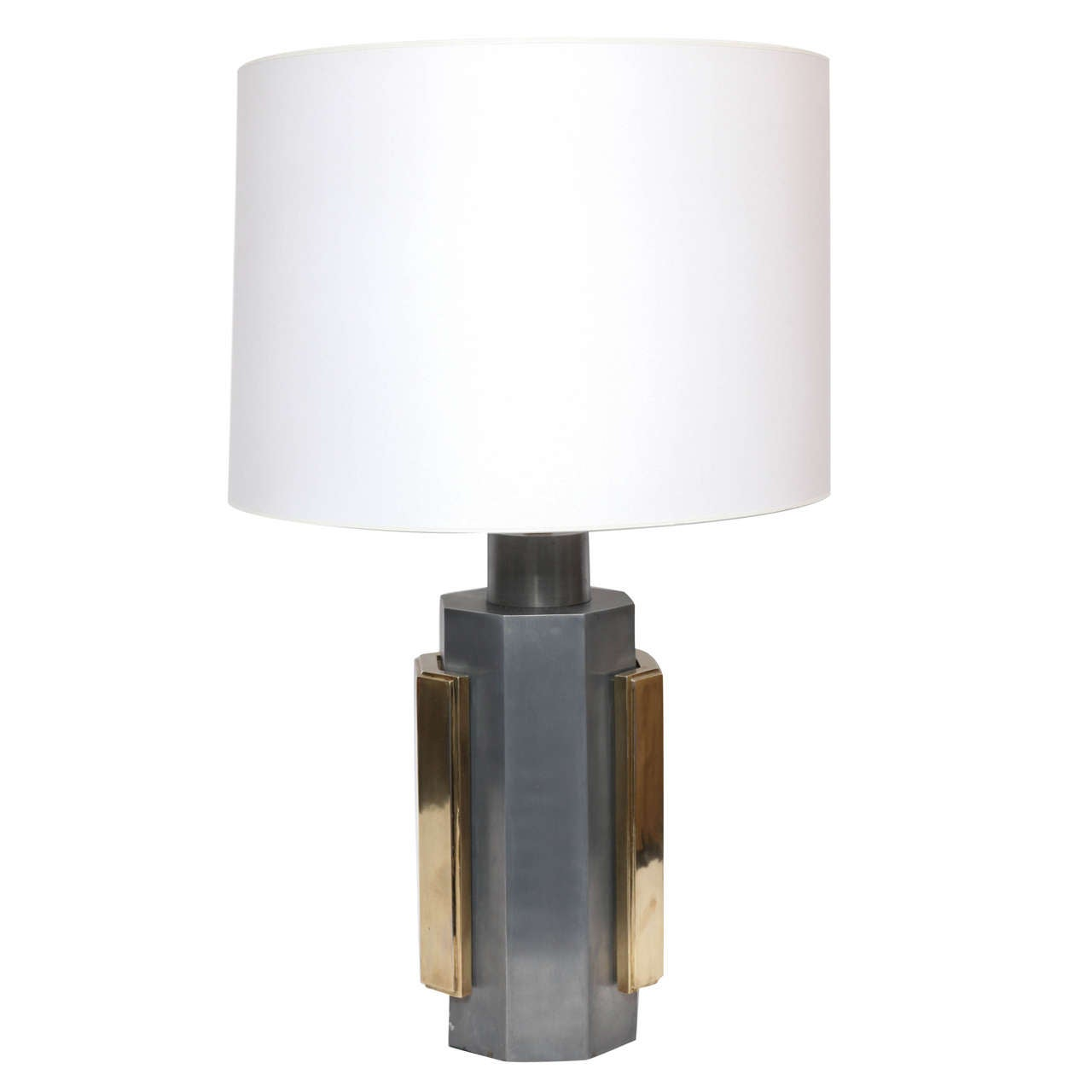 1970s Architectural Modernist Brass and Steel Table Lamp