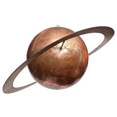 Modernist Brass and Copper Saturn Hanging Sculpture by Charles Lamb