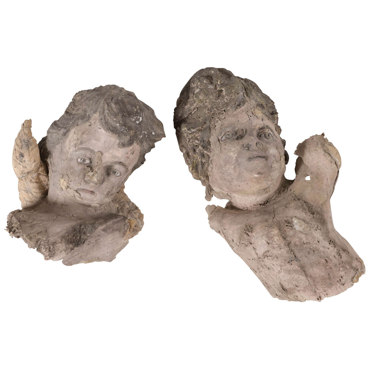 Pair of 18th century papier m ch angels at 1stdibs for Paper mache objects