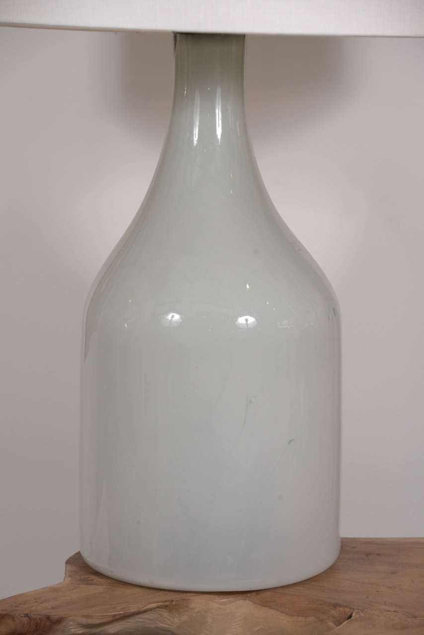 Large Vintage Opaque Glass Vase As Table Lamp At 1stdibs