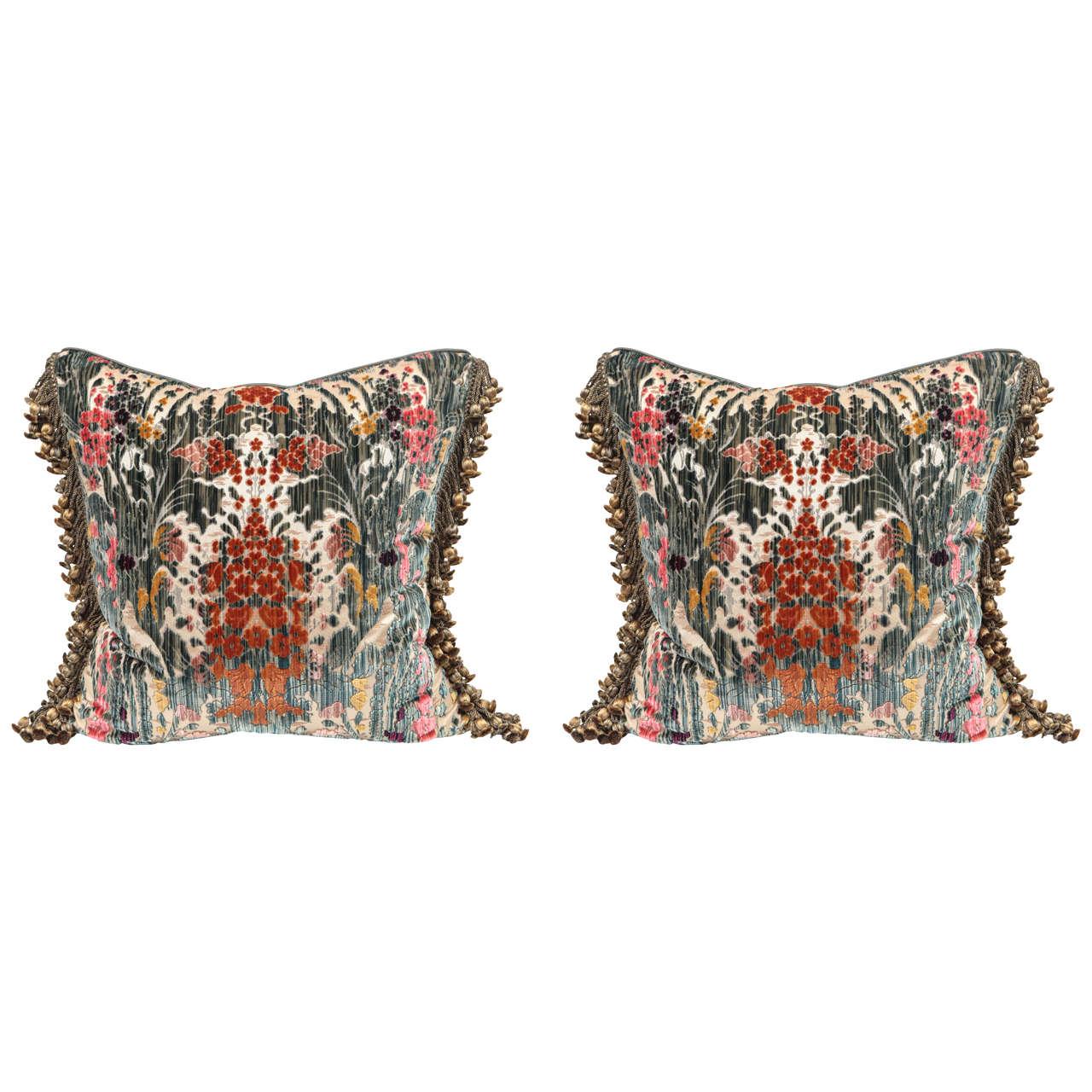 Pair of Luigi Bevilacqua Italian Silk Velvet Pillows For Sale