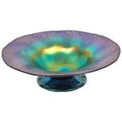 Midcentury Tiffany Blue Iridescent Aurene Compote Bowl