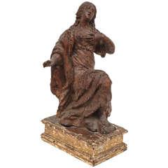 Italian Carved Walnut Female Figure, 17th Century