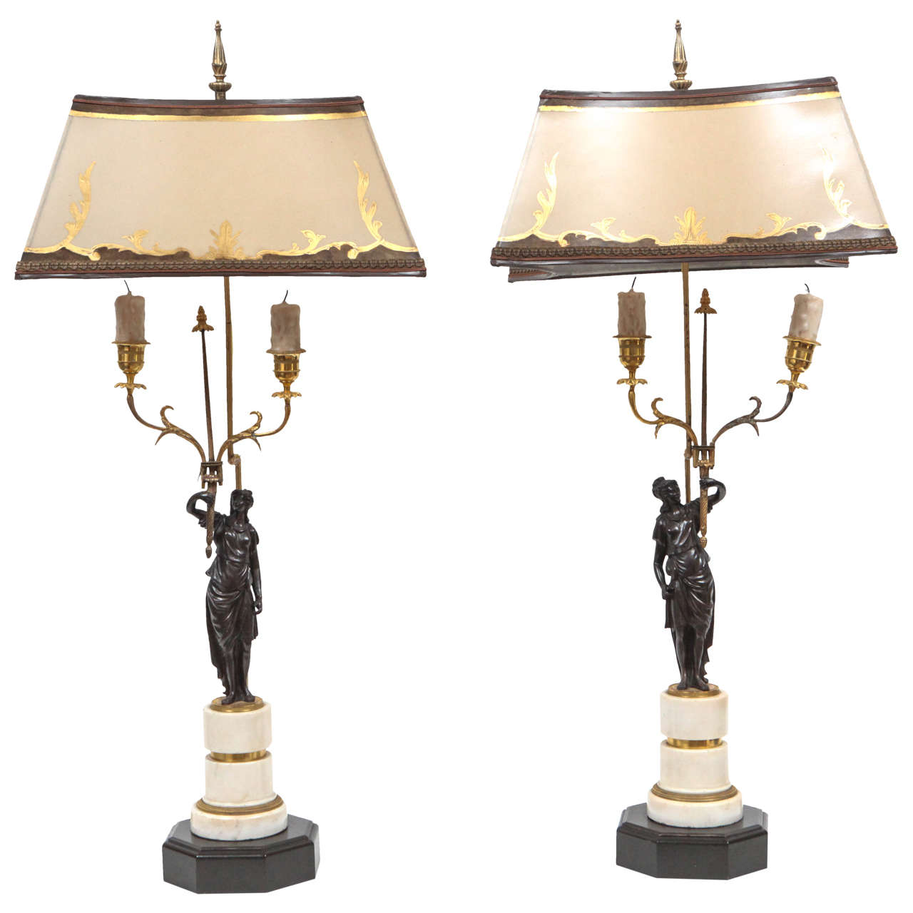 Pair of 19th Century French Marble and Bronze Candlestick Lamps