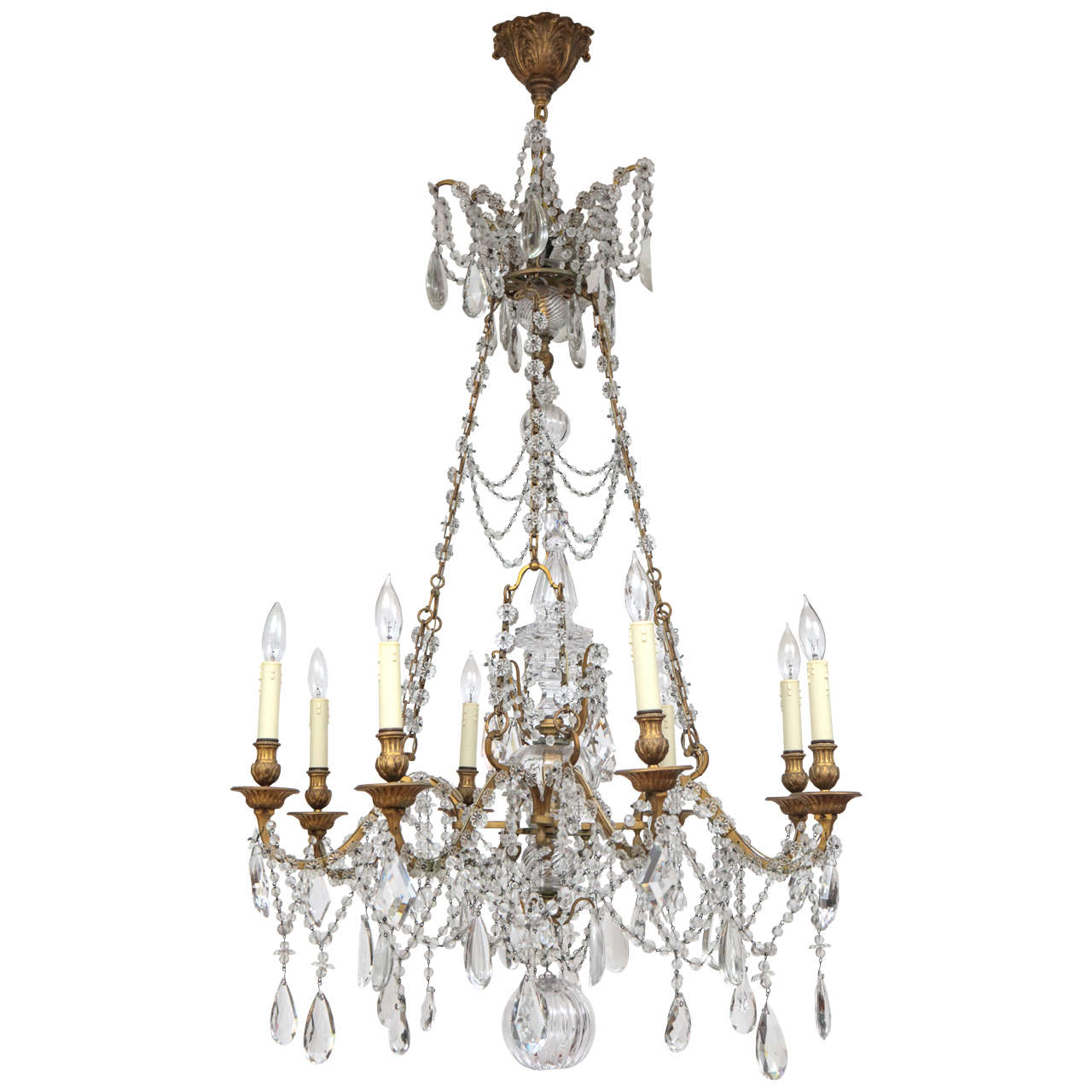 19th century french dor bronze and crystal chandelier for sale at 19th century french dor bronze and crystal chandelier 1 arubaitofo Image collections