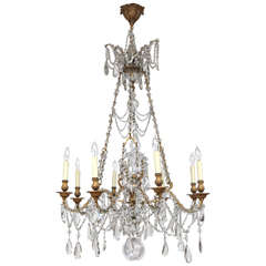 19th Century French Doré Bronze and Crystal Chandelier