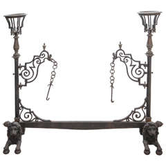 Late 19th Century French Bronze and Wrought Iron Fireplace Stand