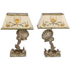 Pair of Seashell Lamps