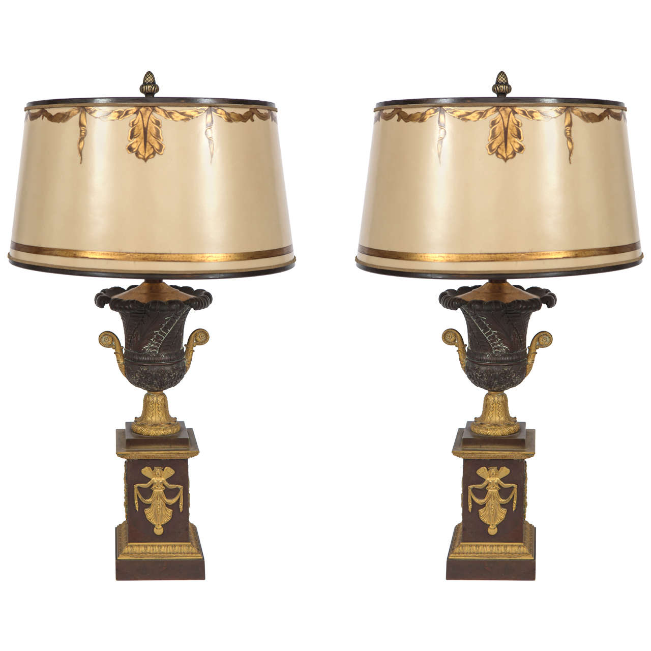 Pair of 19th Century French Empire Bronze Urn Lamps