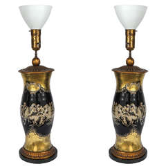 Pair of Vintage Fornasetti Glass and Decoupage Lamps