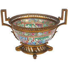 19th Century Rose Medallion Bowl with French Bronze Mounts