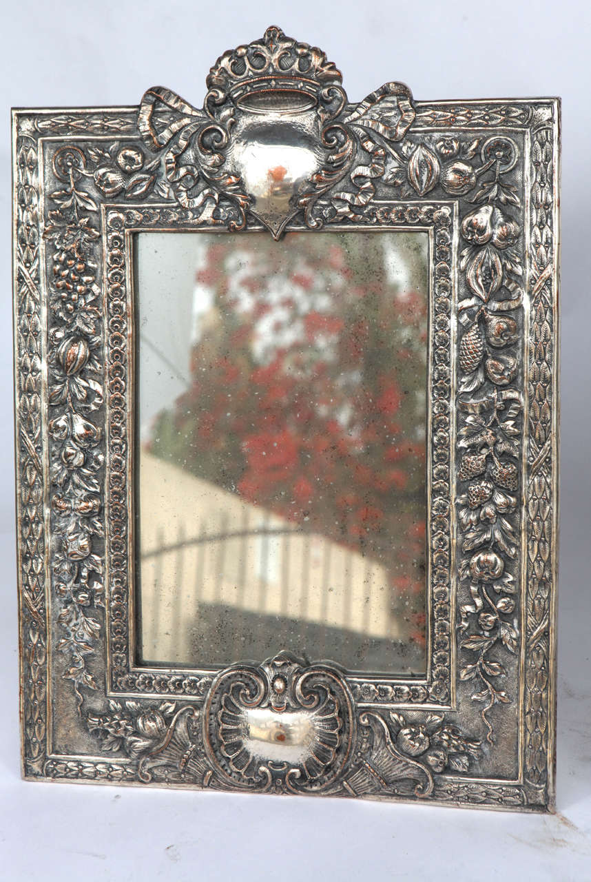 British Pair of Late 19th Century English Silver Mirrors For Sale
