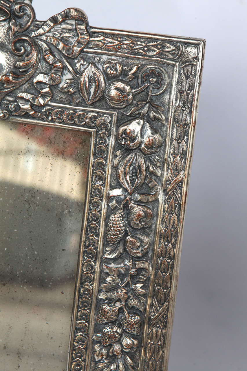 Copper Pair of Late 19th Century English Silver Mirrors For Sale