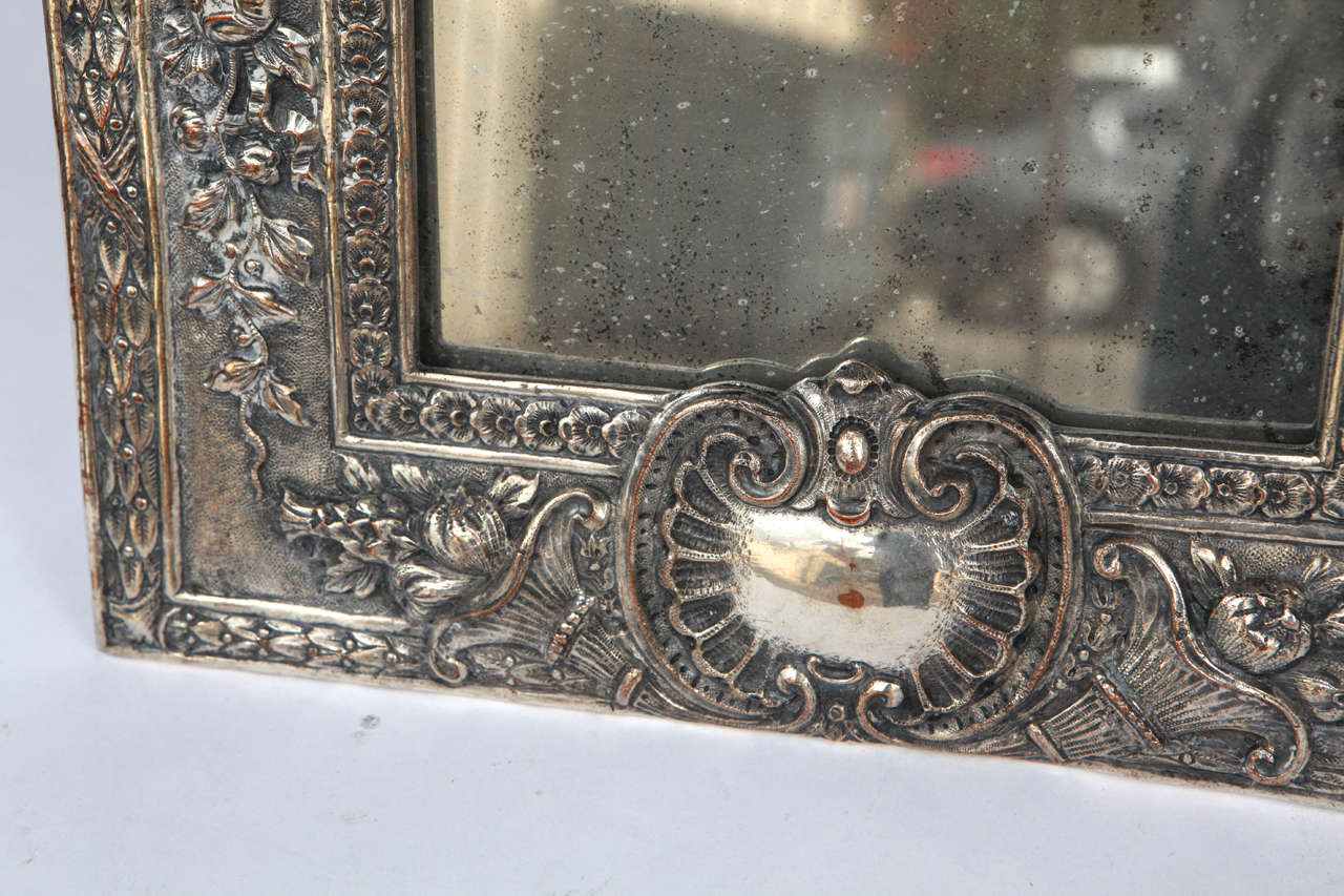 Pair of Late 19th Century English Silver Mirrors For Sale 1