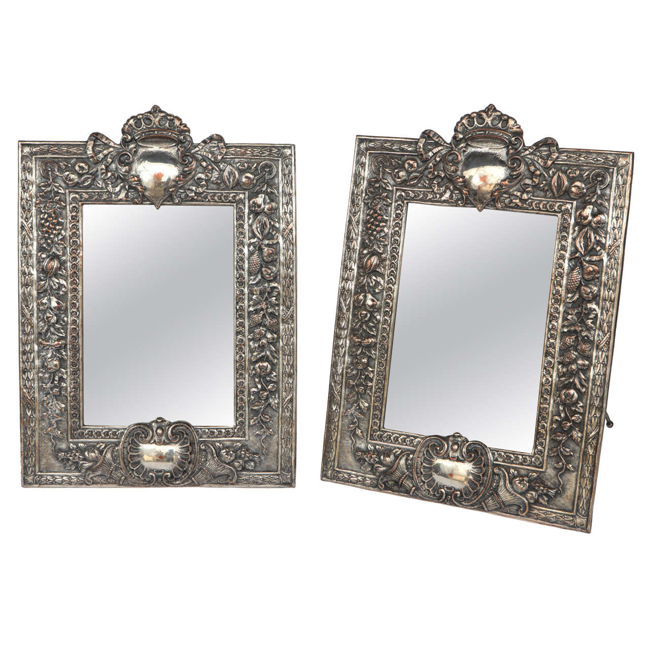 Pair of Late 19th Century English Silver Mirrors For Sale