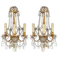 Pair of 1900s French Doré Bronze and Crystal Sconces
