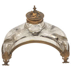 19th Century French Crystal and Doré Bronze Inkwell