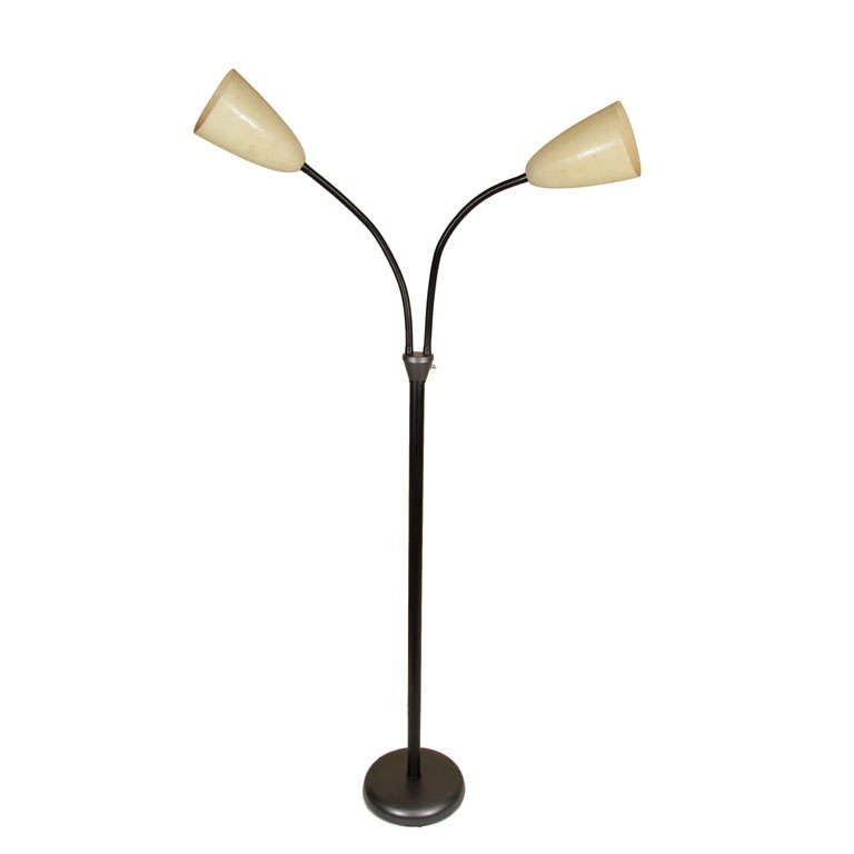 Double gooseneck with fiberglass shades at 1stdibs for Multiple gooseneck floor lamp