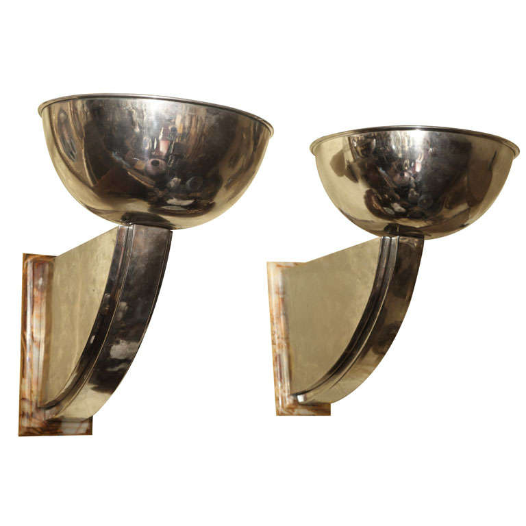 Pair of Mid-Century / Art Deco Chrome and Marble Sconces For Sale at 1stdibs