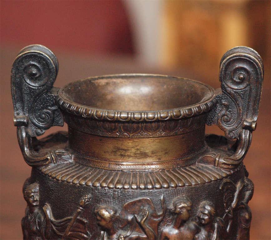 Italian Pair Of Grand Tour Bronze Vases For Sale