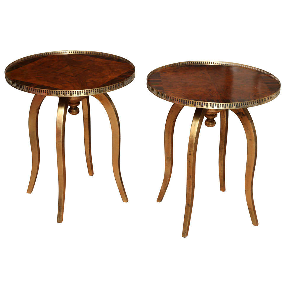 Round Art Deco Side Tables With Macassar And Walnut Veneer For Sale