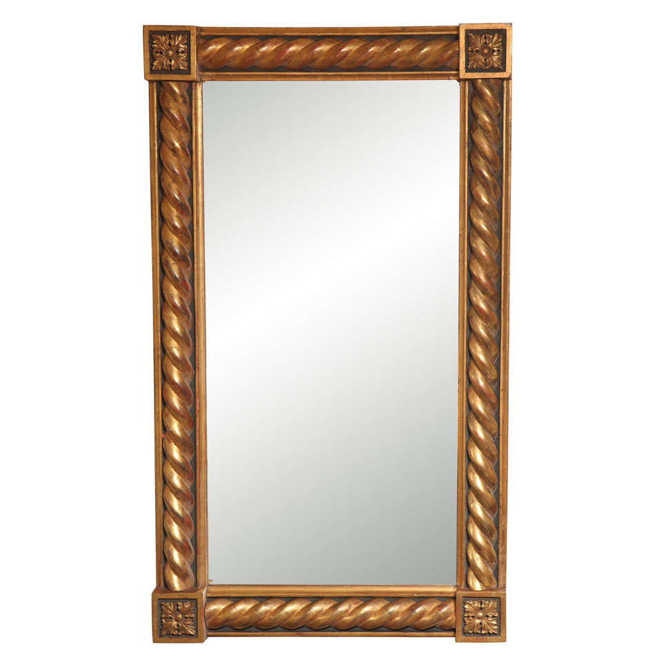Transitional Gold Rectangular Mirror In Rococo Style At