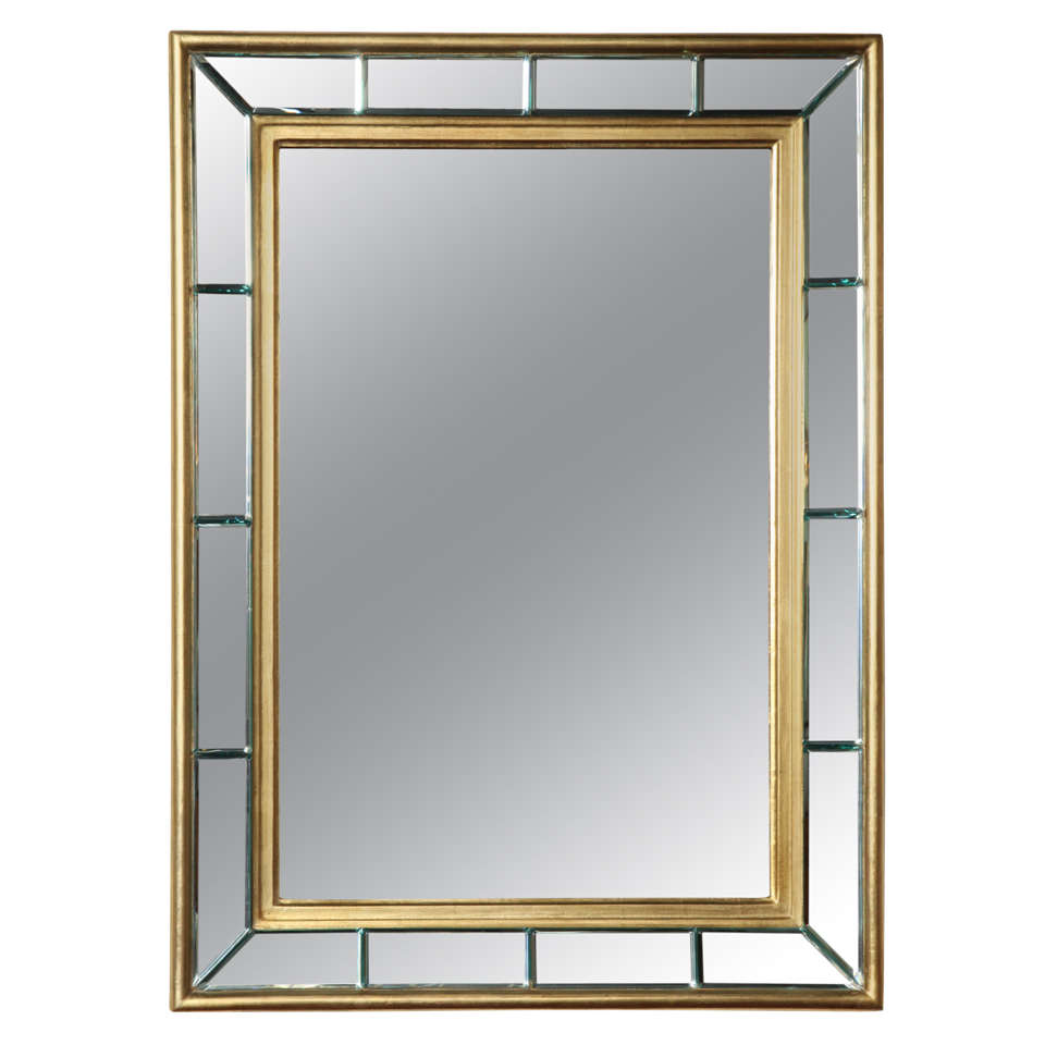 Gold leaf beveled mirror 1940 39 s for sale at 1stdibs for Beveled mirror