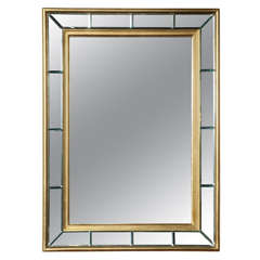 Art Deco Gold Leaf Beveled Mirror 1940's made in Italy
