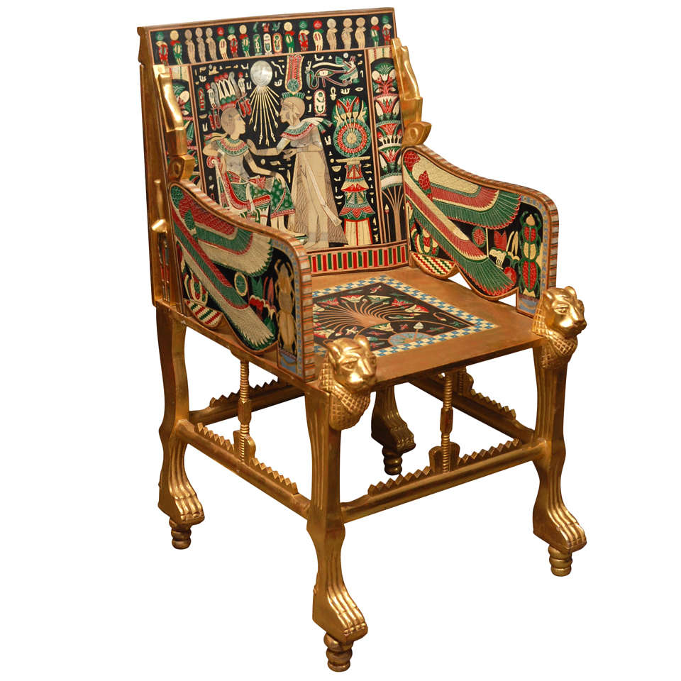 English Egyptian Revival Armchair For Sale