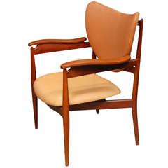 Finn Juhl Leather and Teak Armchair