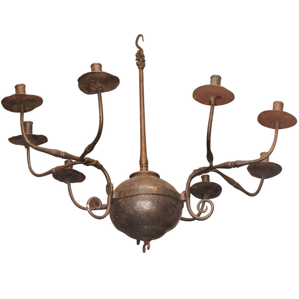17th C Hand Wrought Iron 9 Light Chandelier For
