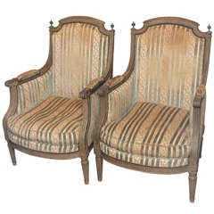 Pair of Period Louis XVI Painted Bergeres