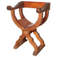Italian Savonarola Style Carved Arm Chair