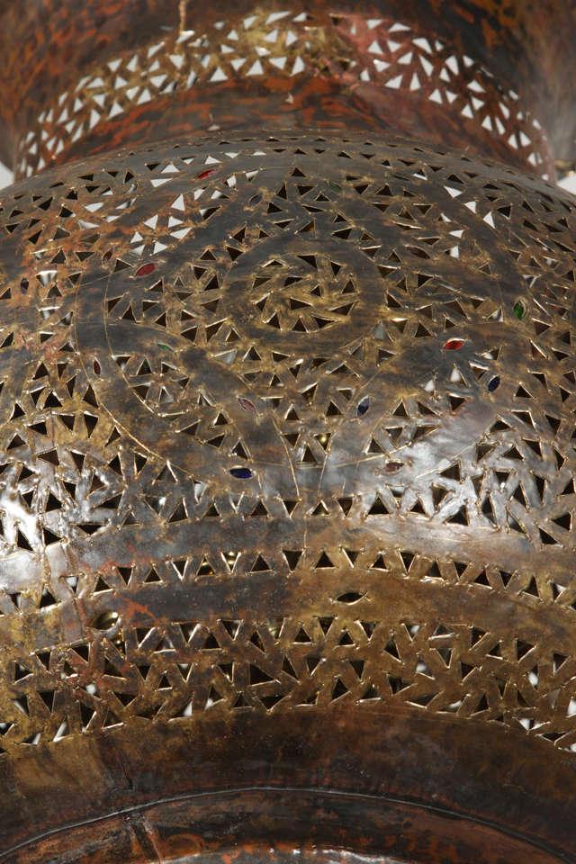 Large Moroccan Brass Hanging Lamp 4